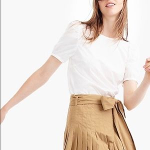 J Crew white, puff sleeved, cotton blouse